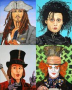 Captain Jack Sparrow Paintings - Johnny Depp Collage by Dean Manemann