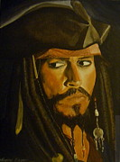 Pirates Drawings Posters - Johnny Depp Pirates of the Caribbeen Poster by Catherine Eager