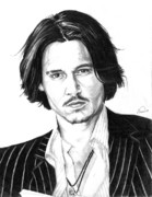 Star Drawings Posters - Johnny Depp Portrait Poster by Alban Dizdari