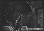 Sparrow Drawings Prints - Johnny Depp Print by Rosalinda Markle