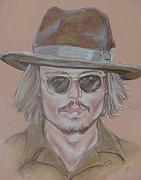 Star Pastels Framed Prints - Johnny Depp Framed Print by Sandra Valentini