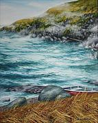 Atlantic Ocean Painting Posters - Johnny Greens Cove Poster by Kristina Steinbring