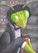 Microphone Painting Framed Prints - Johnny Mantis Framed Print by Catherine G McElroy