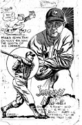 Baseball Art Drawings Framed Prints - Johnny Mize Framed Print by Steve Bishop