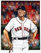 Boston Red Sox Drawings Framed Prints - Johnny Pesky  Framed Print by Dave Olsen