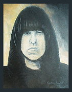 Ramones Posters - Johnny Ramone The Ramones Portrait Poster by Kristi L Randall