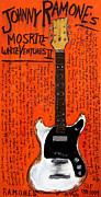 Guitars Paintings - Johnny Ramone White Mosrite by Karl Haglund