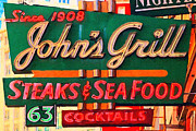 Signage Posters - Johns Grill in San Francisco . Home of The Maltese Falcon Poster by Wingsdomain Art and Photography