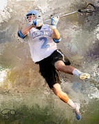 Lacrosse Paintings - Johns Hopkins Shot by Scott Melby