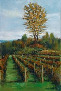 Winemaking Painting Framed Prints - Johns Vineyard in Autumn Framed Print by Robert James Hacunda