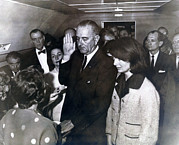 Lyndon Johnson Presidency Framed Prints - Johnson Taking Oath.ladybird Johnson Framed Print by Everett
