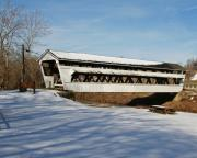Bridge Prints Prints - Johnston Park Covered Bridge Print by LaMarre Labadie