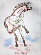 Horse Drawings Framed Prints - Joie de Vivre 2 Framed Print by Tarja Stegars