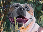 Pitbull Originals - Joie de Vivre Portrait of a Pit Bull by Nancy Daleo