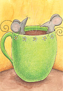 Green Drawings Posters - Join Me in a Cup of Coffee Poster by Christy Beckwith