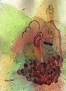 Grape Leaves Posters - Join Me in a Glass Poster by Ellyn Solper