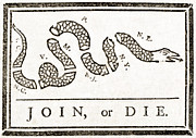 Benjamin Franklin Prints - Join Or Die, French And Indian War Print by Photo Researchers