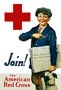 Cross Mixed Media Prints - Join The American Red Cross Print by War Is Hell Store