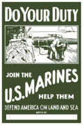 Marine Art Prints - Join The US Marines Print by War Is Hell Store
