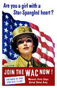 American Flag Digital Art Posters - Join The WAC Now Poster by War Is Hell Store