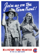 World War Two Posters - Join Us On The Farm Front Poster by War Is Hell Store