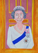 Queen Elizabeth Paintings - Jolly Good Your Majesty by Reb Frost