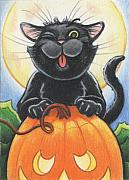 Holiday Drawings Framed Prints - Jolly Ollie Halloween Framed Print by Amy S Turner