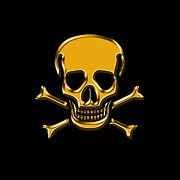 Pirates Prints - Jolly Roger Gold Print by Andrew Fare