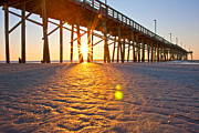 Beachscape Posters - Jolly Roger Pier Sunrise U Poster by Betsy A Cutler East Coast Barrier Islands