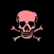 Pirates Prints - Jolly Roger Pink Print by Andrew Fare