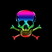 Pirates Prints - Jolly Roger Rainbow Print by Andrew Fare