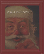 Claus Mixed Media Posters - Jolly Santa Card Poster by Debra     Vatalaro