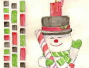 Sketchbook Framed Prints - Jolly Snowman Framed Print by Julie Ferrario