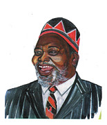 Leaders Drawings Prints - Jomo Kenyatta Print by Emmanuel Baliyanga