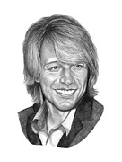 Famous People Drawings - Jon Bon Jovi by Murphy Elliott
