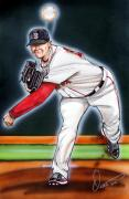Mlb Drawings Posters - Jon Lester Poster by Dave Olsen