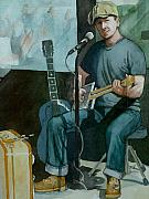Singer Songwriter Paintings - Jon Short-Have Blues will Travel by Lynn Babineau