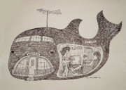 """texas Artist"" Mixed Media Posters - Jonah in his whale home. Poster by Fred Jinkins"