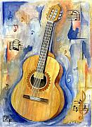 Guitar Painting Framed Prints - Jonathan Framed Print by Cheryl Pass