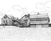 Connecticut Drawings Prints - Jonathan Edwards Winery Print by Michelle Welles