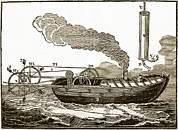 1736 Prints - Jonathan Hulls Steamboat, 18th Century Print by Sheila Terry