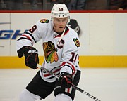 Blackhawks Drawings - Jonathan Toews - Action Shot by Melissa Goodrich