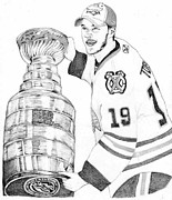Nhl Hockey Drawings Posters - Jonathan Toews Poster by Kiyana Smith