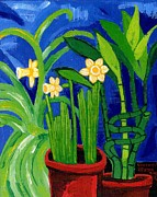 Plant Greeting Cards Painting Framed Prints - Jonquils and Bamboo Plant Framed Print by Genevieve Esson