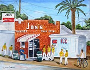 League Painting Prints - Jons Ham Print by Linda Cabrera