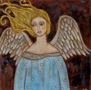 Christian Art . Devotional Art Painting Prints - Jophiel Print by Rain Ririn