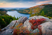 Beautiful Clouds Posters - Jordan Pond Sunrise  Poster by Susan Cole Kelly