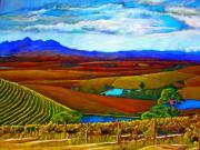 Grape Vineyard Painting Framed Prints - Jordan Vineyard Framed Print by Michael Durst