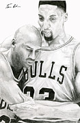 Scottie Pippen Drawings Posters - Jordan Will To Win Poster by Tamir Barkan