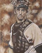 Yankees Drawings Framed Prints - Jorge Posada New York Yankees Framed Print by Eric Dee